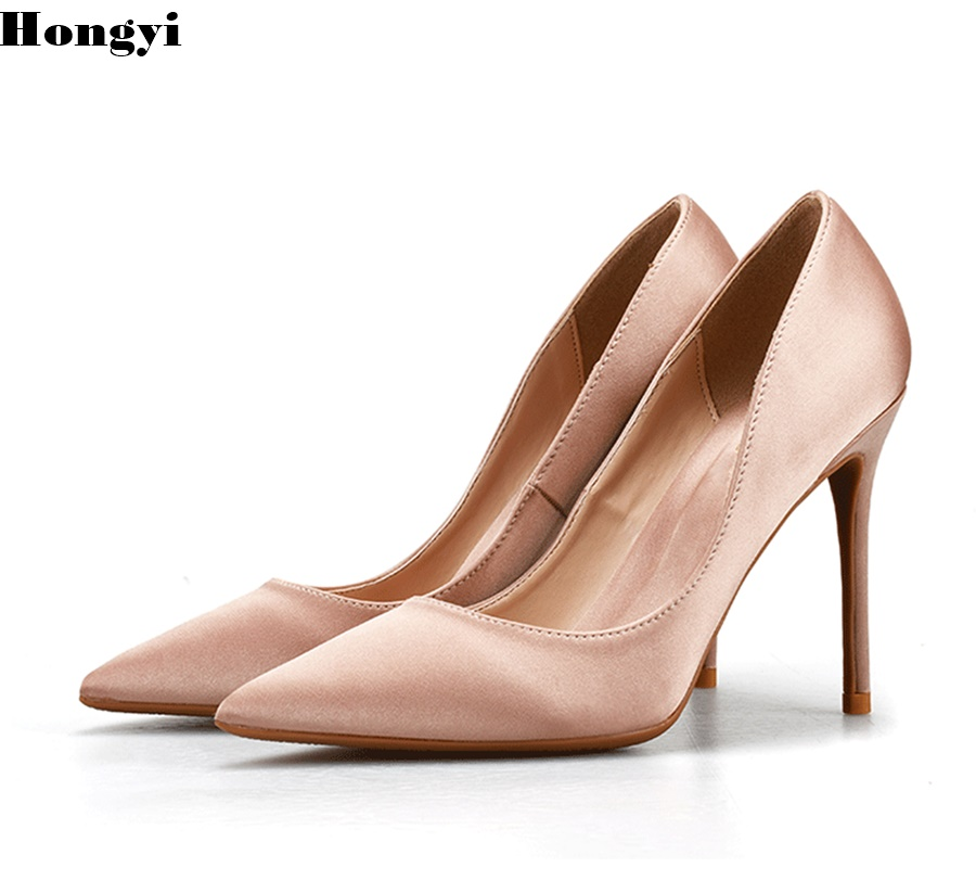Damen Color Color Luxus Spitzschuh as Cm Pumps High Red Satin Heels Braut As Schuhe Weibliche 2018 Showed Hongyi Frauen Design 8 UwxfERqPnF