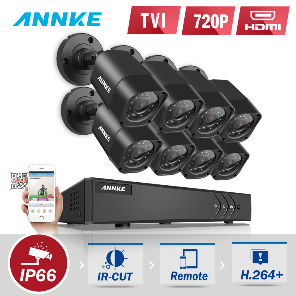 ANNKE 8CH 5IN1 1080N 720P DVR 8PCS 1MP 720P Outdoor Bullet Weatherproof Camera Home Surveillance Security Camera System 1TB HDD