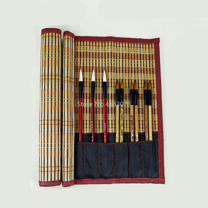 30x30cm Chinese Style Calligraphy Brush Calligraphy Pen Painting Holder Brush Case Bag Roll Brush Pen Curtain Pencil Bamboo Pen