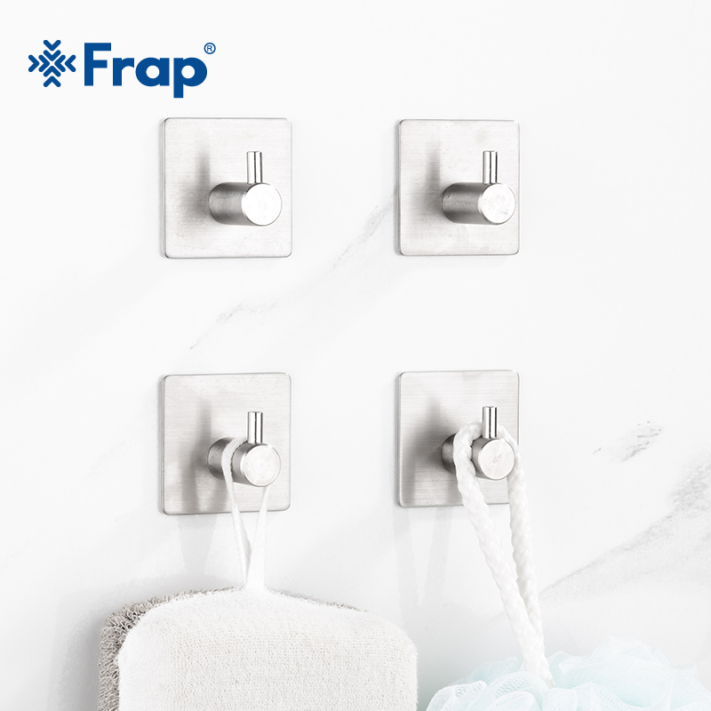 Frap Hot Sale 304 Stainless Steel Robe Hooks Wall Door Clothes Hanger Kitchen Bathroom Rustproof Towel Hooks 4pcs/Set Y19002