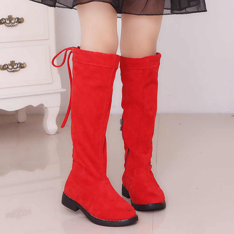 Princess Fashion Spring Winter Boots Black Red Brown Size26-37 Casual Children Footwear Vintage Shoes Girls Knee-high Long Boots