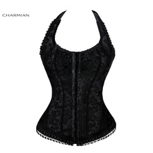 Charmian Sexy Women Elegant Halter Satin Jacquard Lace Edge Waist Trainer Corsets and bustiers Body Shapewear Bustier Corselet