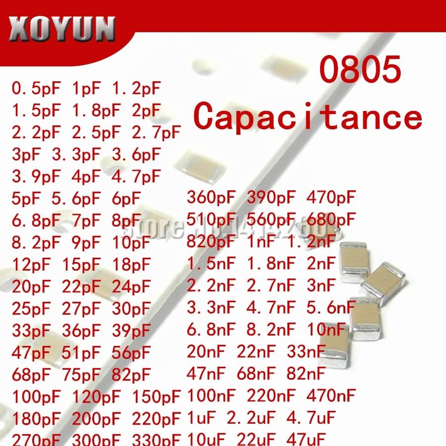 Многослойный керамический конденсатор 100 50 в SMD с толстой пленкой, 0805 пФ-47 мкФ Ф 10 нФ 2,2 НФ 1 мкФ 4,7 мкФ 10 мкФ 1 пФ 6 пФ, шт.
