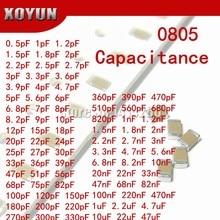 Capacitor de cerâmica multicamada, 100 peças 0805 50v smd grosso capacitor para multicamadas 0.5pf-47uf 10nd 100nd 1uf 2.2uf 4.7uf 10uf 1pf 6pf