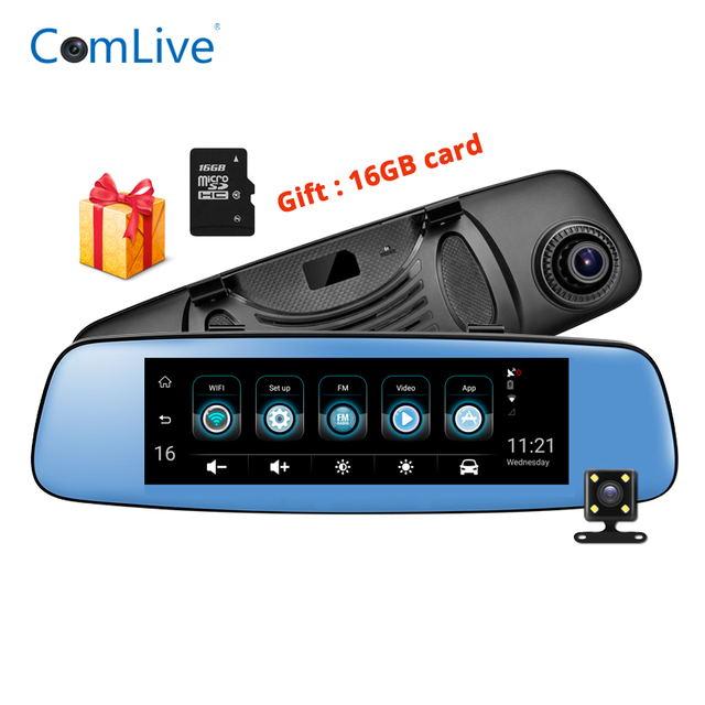 """3G Car Mirror DVR rear view camera registrar FHD video recorder 7.84"""" IPS Touch Android with two cameras dash cam wifi gps dvrs"""