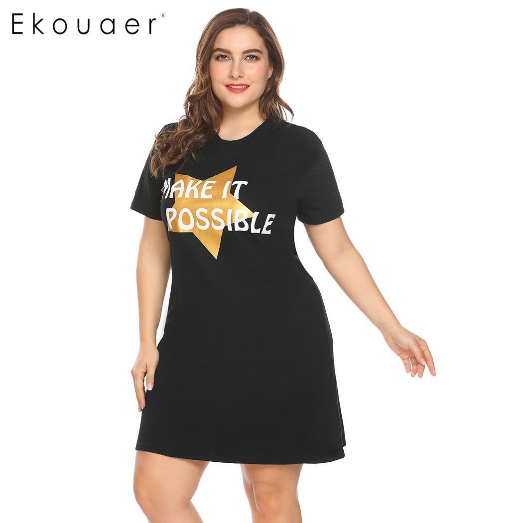 Ekouaer Women Big Size Nightdress Sleepwear Short Sleeve Letter Star Print V-Neck Sleepshirt Nightgown Female Plus Size Homewear 1