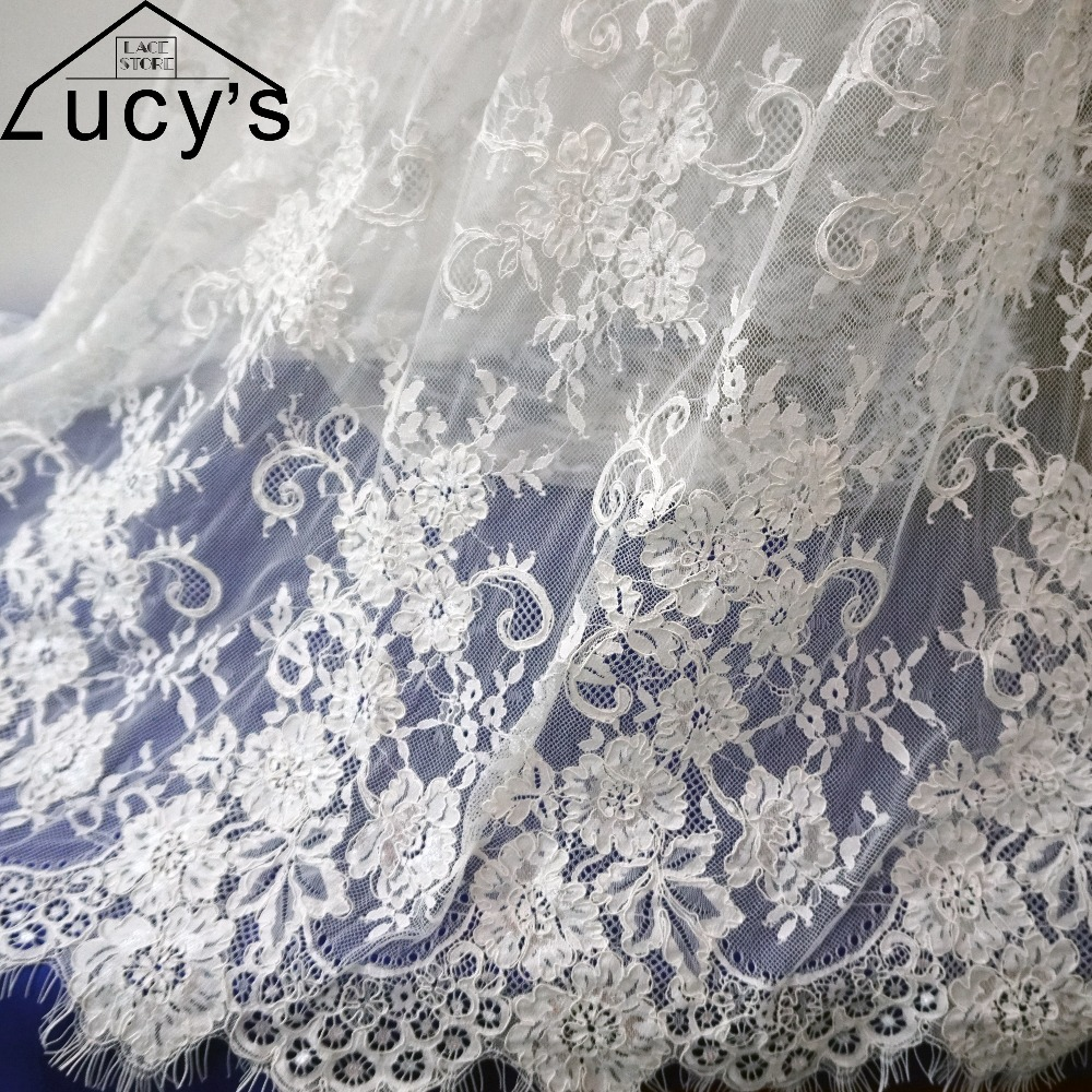 Vintage wedding lace high end french cord lace 3M piece Elegant eyelash chantilly lace fabric with