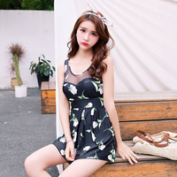 New Swimming Suit Women Net Yan Floral Flower Pattern Smooth Swimsuit Three Pieces Bohemia Sexy Fitting