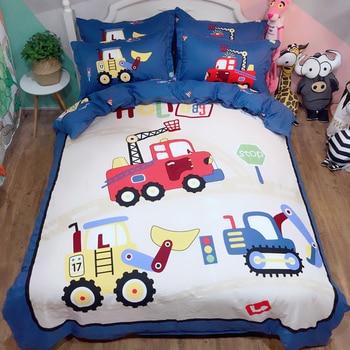 Kids Boys Cartoon Car Printing Cotton Bedding Set Duvet Cover Pillowcase Sheet Quilt cover Bed Set Twin Queen King Size 3/4pcs#s