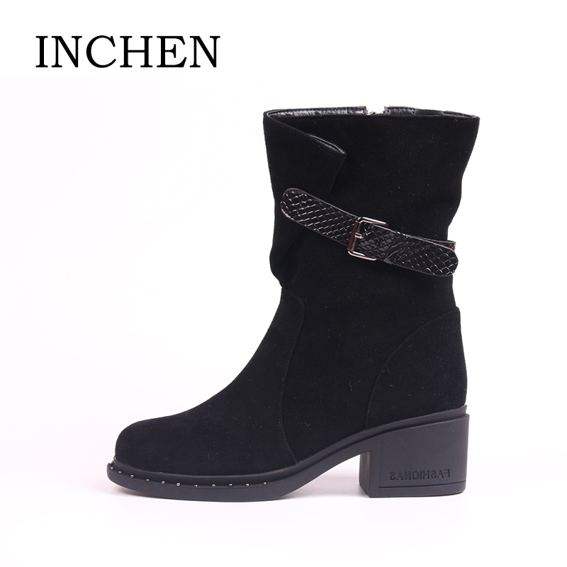 INCHEN Wool Fur Boots Kid Suede Square High Heels Mid-Calf Ladies Winter Boots Strap Buckle Zipper Keep Warm Shoes for Women Z06 casual women s mid calf boots with metallic buckle and suede design