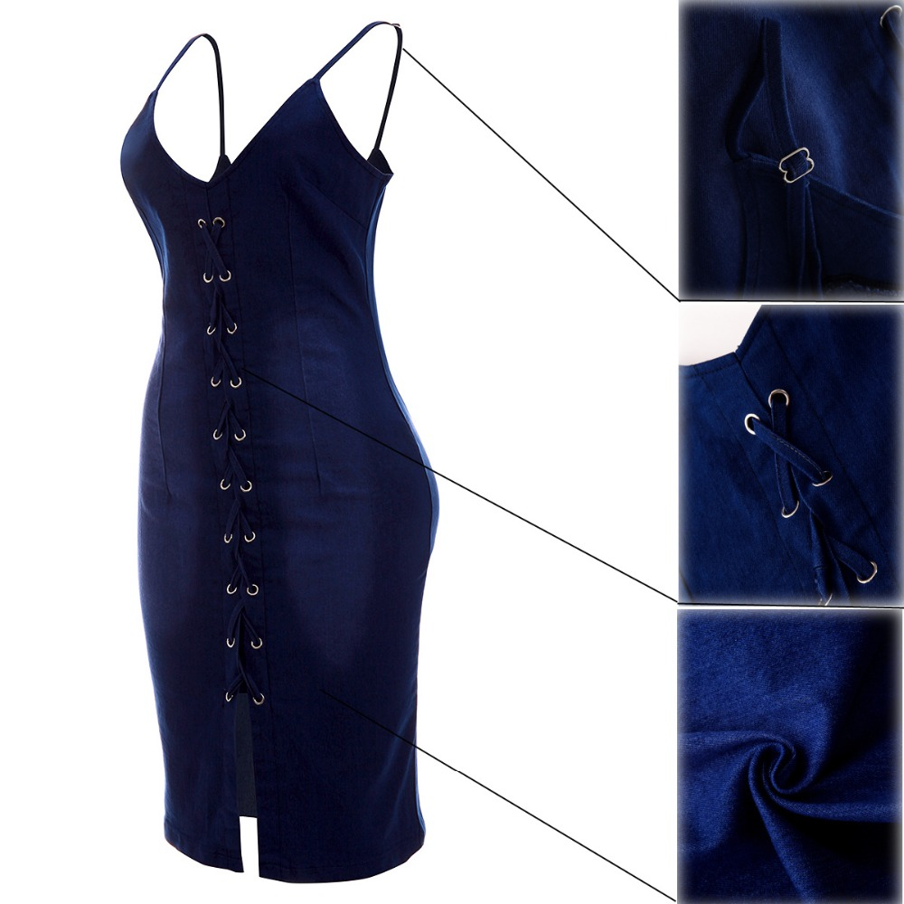 4a13ad824ad Tsuretobe Summer Jean Bandage Bodycon Dress Women Elastic Hollow Out  Sundress Denim Backless Dress Night Club Robe Sexy Dress-in Dresses from  Women's ...
