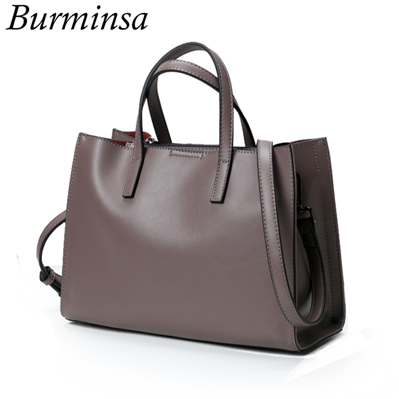 Burminsa Brand Real Genuine Leather Bags Women's Bucket Designer Handbags High Q