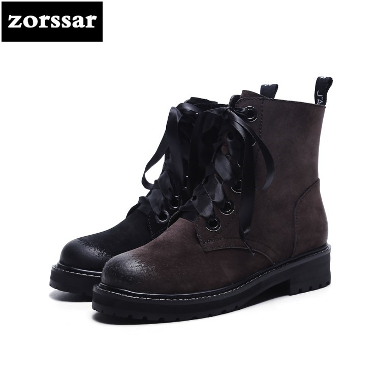 {Zorssar} Brand shoes 2018 Suede Leather Martin boots Women Ankle Boots Comfort flat heel shoes winter warm woman shoes lace up zorssar 2018 new fashion women martin boots cow suede comfort flats heel lace up mid calf boots autumn winter women shoes