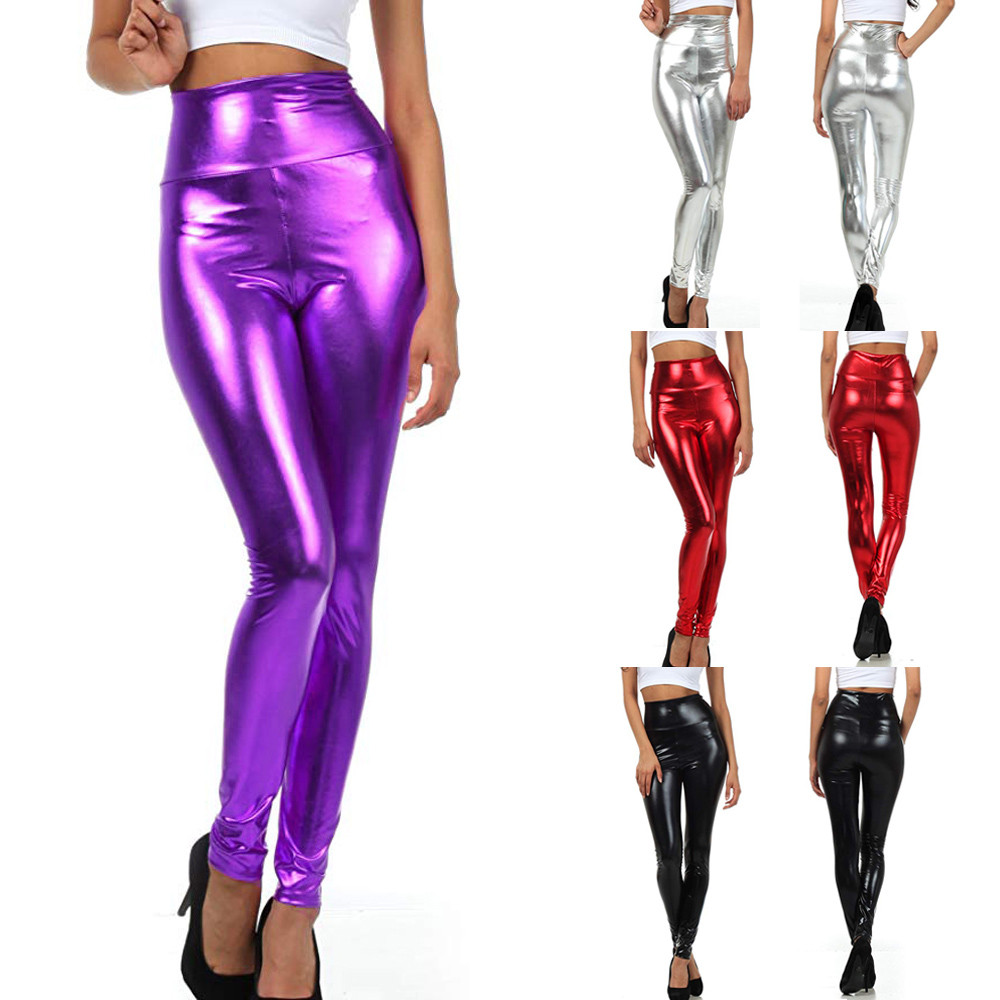 Fashion Women Shiny Liquid Pants Metallic High Waist Stretch Leggings Party Pencil Pants Slim Leather Pants Ladies Club Wear