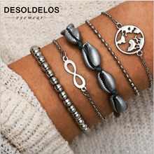 2019 New Bohemian Silver Chain Beads Bracelets Vintage Fashion Ocean Map Shell Bangles Sets For Women Jewelry
