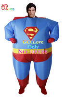 2016 Nuovo Grasso Gonfiabile Costume per Halloween Superman Tuta Partito Fancy Blow Up Dress Carnevale Cosplay di Supereroi