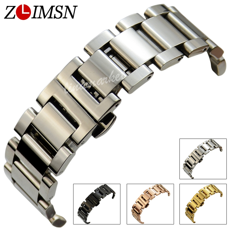 ZLIMSN Stainless Steel WatchBands Black Rolse Gold Silver Women Mens Bracelet Watch Strap 18mm 20mm 22mm relogio Replacement S17 zlimsn silver mesh watchbands stainless steel watch strap men women ultrathin watch band bracelet relojes hombre 14 16 18 20mm