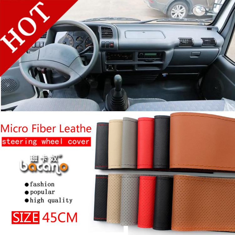 BACANO large steering wheel cover for RV Truck micro fiber leather car 45cm steering wheel braid Durable