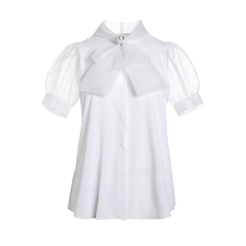 Nouveau 2019 mode dame coréenne grande taille été Bowknot manches courtes en mousseline de soie blanche lâche perle femmes hauts et chemisiers - 5