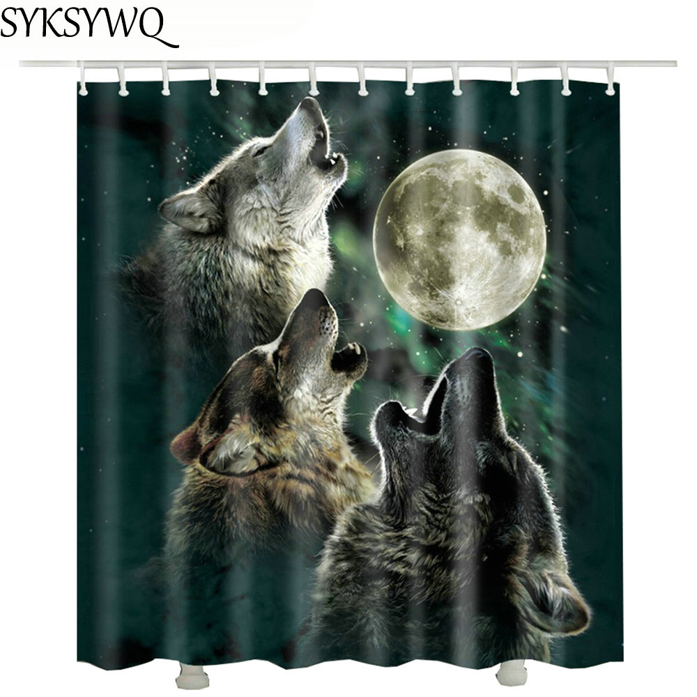 Moon Wolf Bathroom Shower Curtains 3d Hot Sale Drop Shipping Polyester Waterproof Fabric Shower Curtain