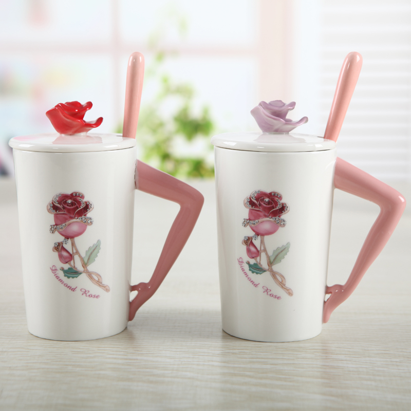 Rose goddess cup ceramic mug cup with cover the bone china office coffee cup for Valentines Day Gift