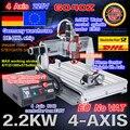 EU gratis schip/gratis BTW 4 Axis 6040 usb-poort 2.2KW 2200W USB Mach3 CNC Router Graveur Graveren frezen Citting Machine 220VAC