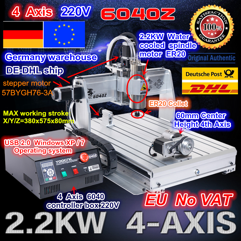 Navio livre UE/free IVA Mach3 2.2KW 4 Eixo 6040 porta USB 2200 W USB CNC Router Gravura Gravador moagem Máquina Citting 220VAC