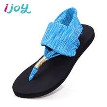 IJOY Women Summer Beach Sandals Girls Flip Flops Fashion Ladies Elastic Band T-Strap Flat Sandals Rubber Non-slip Soles Shoes