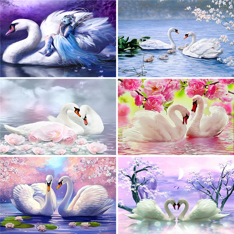 5D Diamond Embroidery Sale Swans Animal Full Square Diamond Painting Cross Stitch Kit Di ...