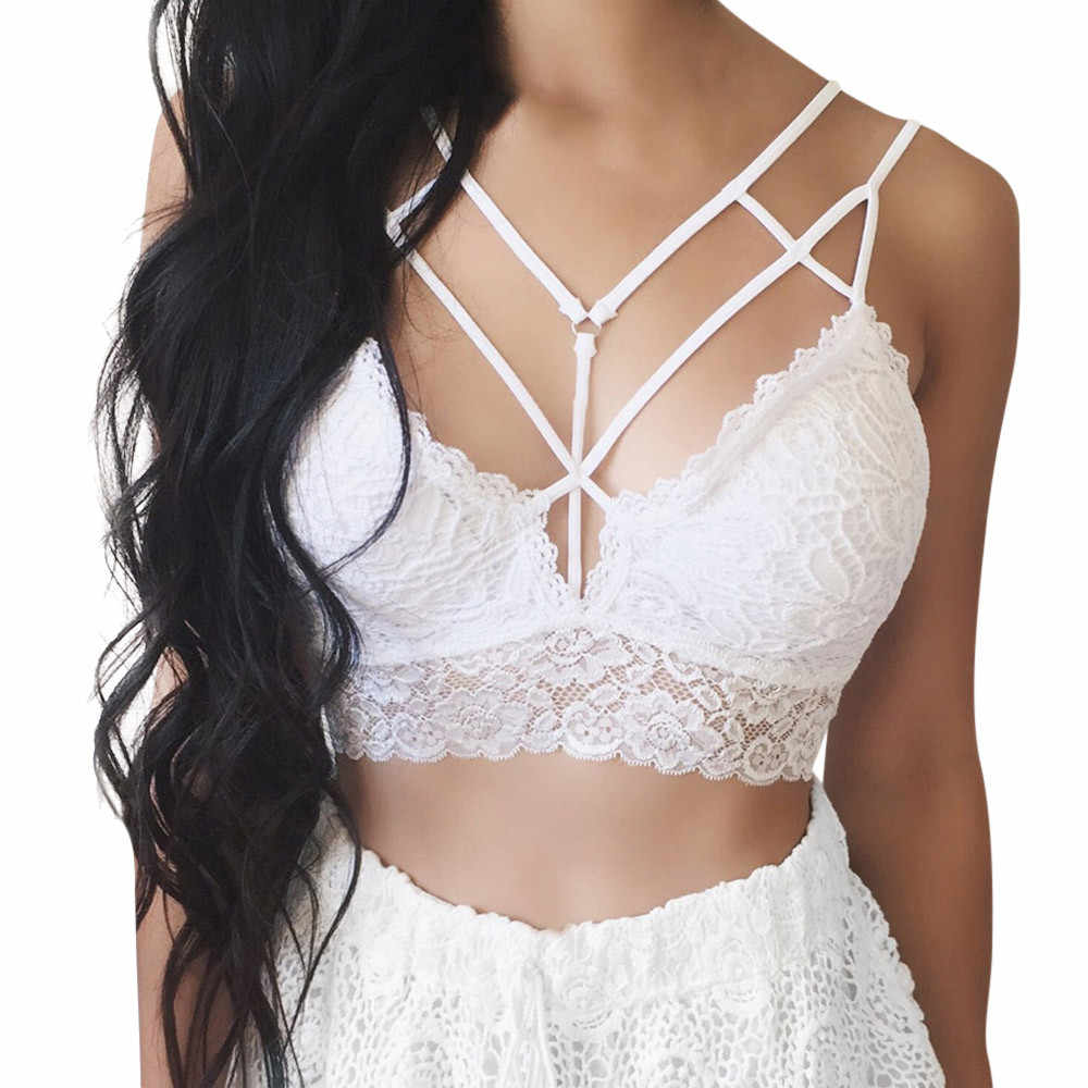 Wit Zwart Tube Tops Sexy Bandage Hollow Out Kant Spaghetti Band Vrouwen Effen Bralette Bustier Crop Top Bra Shirt Buis # 10%