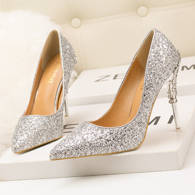 under $60 cheap price The new spring and summer high heel is fine with gradient color golden sequins Bride Wedding Shoes Sexy Women shoe shallow mouth nightclub sale popular wholesale online lyERXHe6YZ