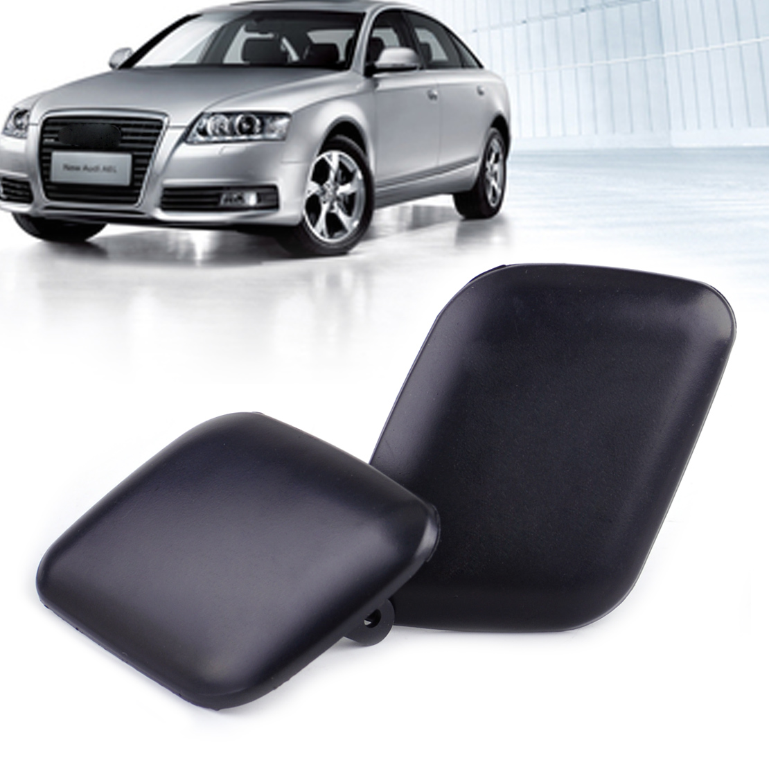 beler 1Pair Front Left & Right Bumper Headlight Washer Cover Cap 4B0 955 275 4B0 955 276 for Audi A6 C5 1998 1999 2000 2001 2002