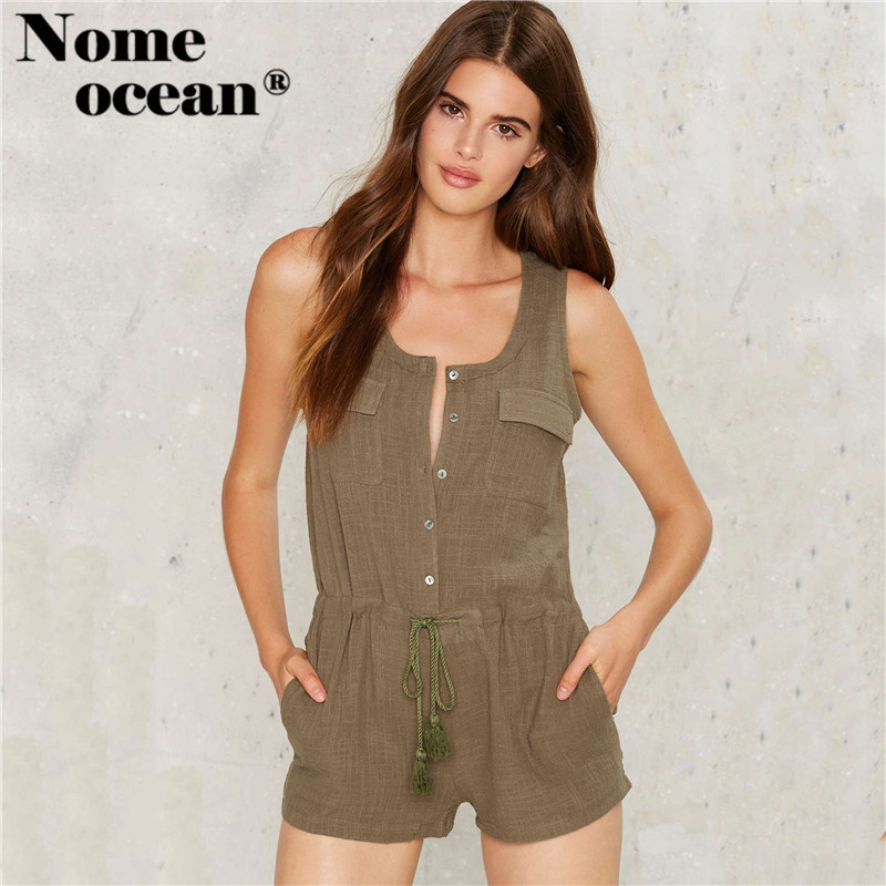 Button-up Front Rompers Double Pockets Sleeveless Women Shorts 2020 Summer Sexy Short Jumpsuits Drawstring Playsuits M17062003