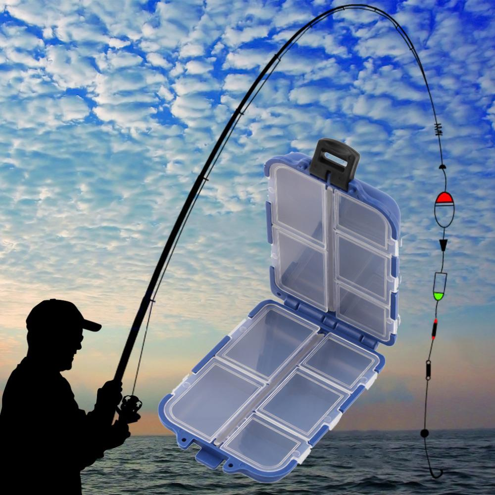 2pcs 10 Compartments Fishing Tackle Box Fly Fishing Lure Spoon Hook Bait Tackle Case Box Fishing Accessories Tools Drop Shipping