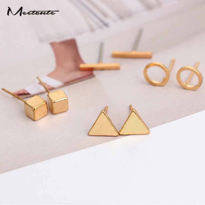 Meetcute New 4Pairs/Set Simple Geometric Triangle Round Stud Earrings For Women Men Gold Silver Black Color Earring Wholesale