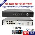 HD PoE NVR 4CH 1080 P/960 P/720 P Onvif Vigilância Gravador de Vídeo de Rede Para IP POE Sistema de Segurança CCTV Camera HDMI IOS Móvel