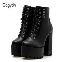 Gdgydh 2020 Fashion Women Platform Boots High Heels Women Motorcycle Boots Zipper Round Toe Rubber Sole Ladies Party Shoes Heel
