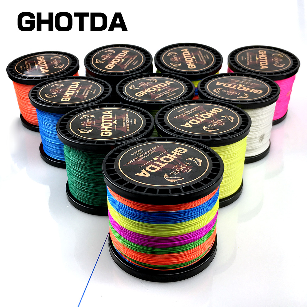 GHOTDA 300M 500M 1000M 4 Strands 8 Strands PE Braided Wire Multifilament Fishing Line Fishing Tackle 6 Colors