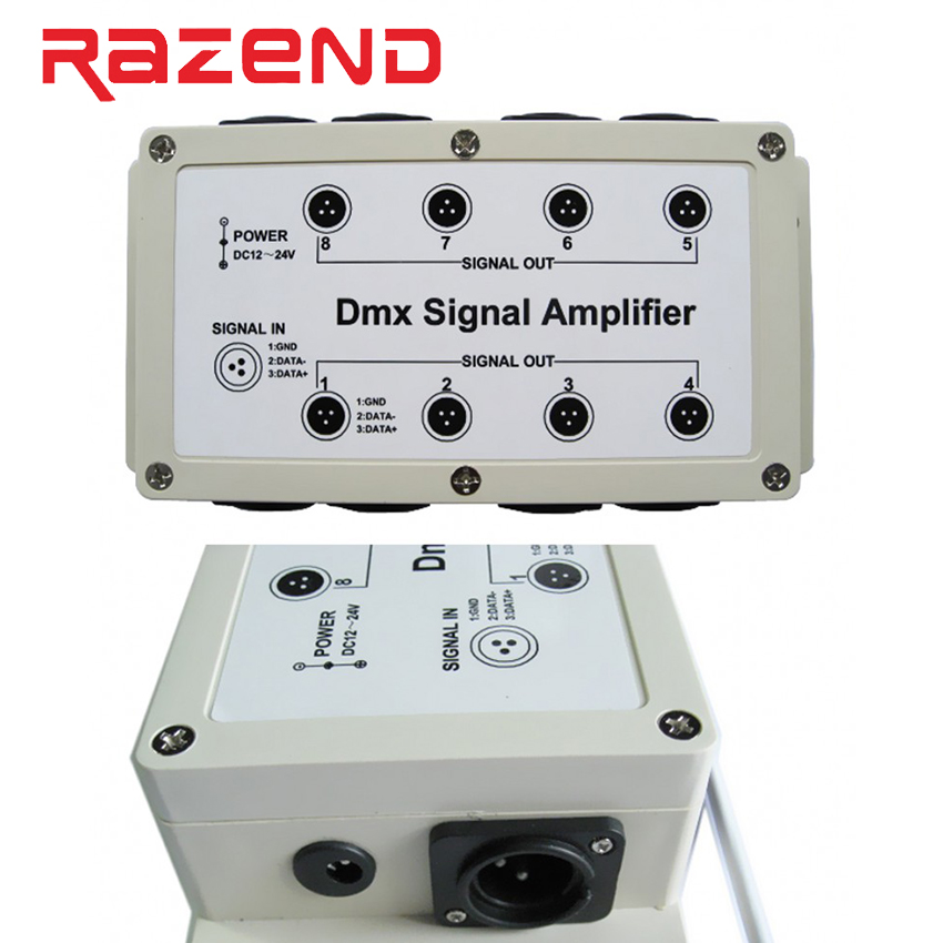 DMX512 signal amplifier 8 Channel Output DMX LED Controller stage control station head shaking lamp Splitter Distributor New цена
