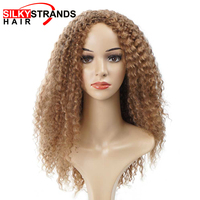 Silky Strands Marley Afro Kinky Curly Synthetic Wigs For African American Women Brown Kanekalon Heat Resistant Bob Wigs Cosplay