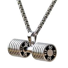Men Stainless Steel Dumbbell Charm Pendant Necklace Fitness Statement Necklace Jewelry Gifts for Sports Lovers colar