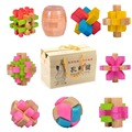 9 pcs/lot Colorful educational wooden toys beech wood brainteaser iq burr adult puzzle games for kids