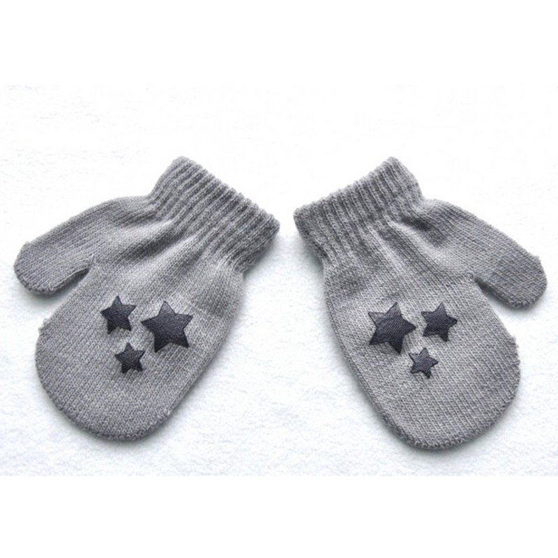 Cute Winter Autumn Warm Gloves Kid Boy Girl Warmer Stars Printed Mittens Whole Covered Finger Gloves 6 Styles HT Simple Style