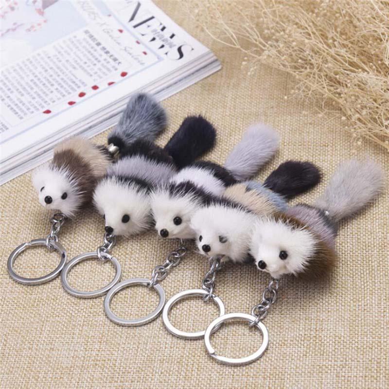Cute Fluffy Crown Bow-knot Fox Ball Key Chain Rings Pompom Artificial Fox Fur Charm Keychain Car Bag Key Ring Women Jewelry