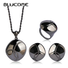 Blucome Bright Oval Jewelry Set Blackgun Color Wedding Jewelry Sets For Women Special Engagement Ring Anel Hook Earring Joyeria
