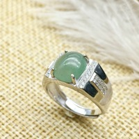 KJJEAXCMY fine jewelry 925 Silver inlaid with natural jade ring jewelry of pure silver ring.