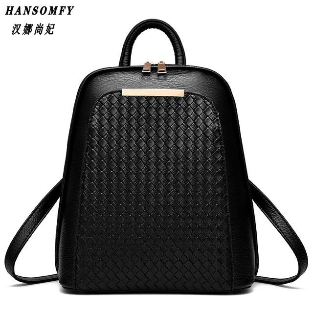 HNSF 100% Genuine leather Women backpack 2017 New Tide female backpack spring summer students fashion casual Korean women bag