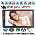 2 din size 7 Inch Bluetooth touch Screen Car Audio Stereo MP5 MP4 Player 12V Support AUX FM USB TF 4 languages menu rear camera