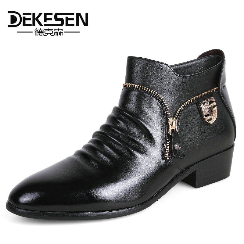 DEKESEN Brand Leather Men Dress Shoes, Genuine Leather Bullock Oxfords Shoes For Men, Designer Luxury Men Casual Flats Shoes