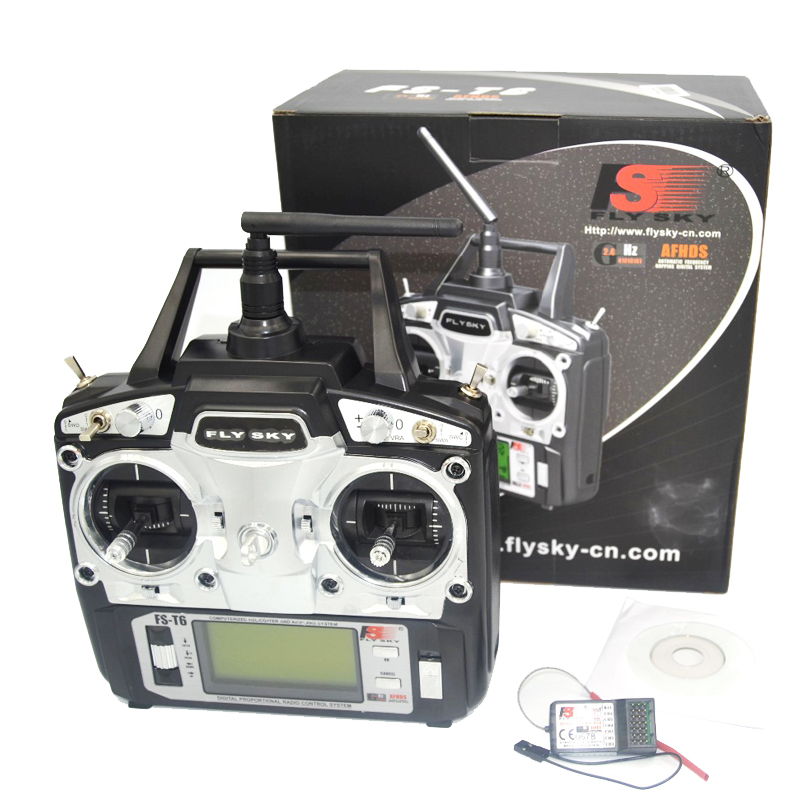 drone FlySky FS-T6 2.4G 6CH TX RX FS-R6B RC Radio Control Transmitter Receiver System qav250
